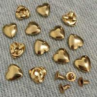 100 STÜCKE 10 MM Gold Herz Nieten Punk Spike Studs Spots Mode Niet DIY Taschen Gürtel Schuhe Brieftasche Handwerk Fit Für DIY Versandkostenfrei