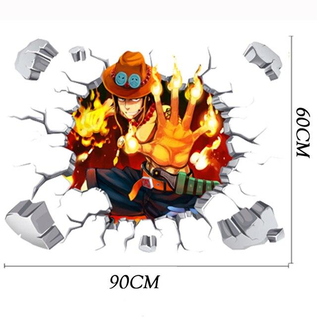 0ce3becc3c 90*60cm One Piece Anime Sticker 3D Visual Effect Wallpaper Portgas