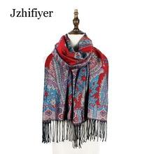 Jzhifiyer pashminas paisley jacquard tassel winter heavy capes shawls scarf bandana hijab cover poncho feminino inverno shawl