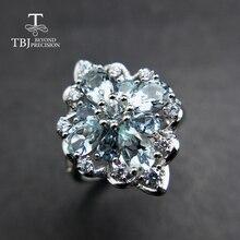 TBJ, % 100% doğal 3ct brezilya aquamarine taş yüzük 925 ayar gümüş değerli taş takı bayan için hediye kutusu