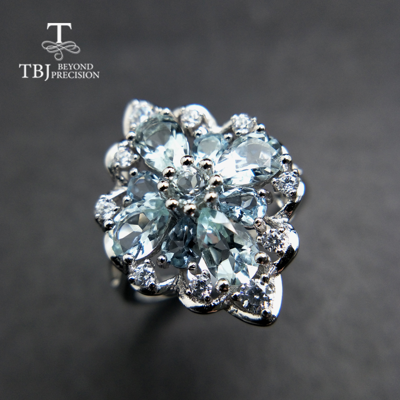 TBJ,100% natural 3ct Brazil aquamarine gemstone ring in 925 sterling silver precious stone jewelry for lady with gift box