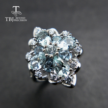 TBJ,100% naturalne 3ct brazylia kamień akwamaryna pierścień w 925 srebro kamień szlachetny biżuteria dla pani z szkatułce