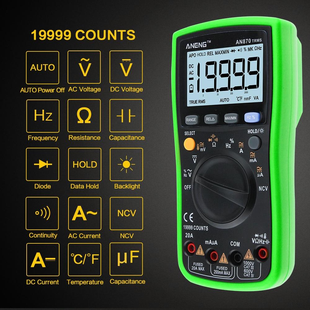 ANENG AN870 19999 Counts Auto Range Digital Multimeter True-RMS NCV Ohmmeter AC/DC Voltage Ammeter Current Temperature Meter zotek zt219 19999 counts true rms auto range digital multimeter ac dc voltage current voltmeter capacitance ohm diode meter sale