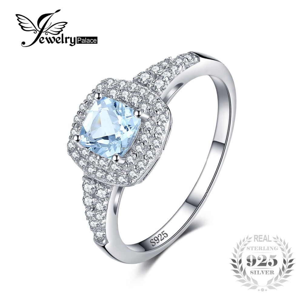 JewelryPalace Cushion Cut 0.9ct Natural Aquamarine Halo