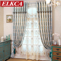 Mediterranean Chenile Thick Blue Blackout Curtains For Living Room Luxury Curtains Bedroom Window Blinds Sheer Curtains