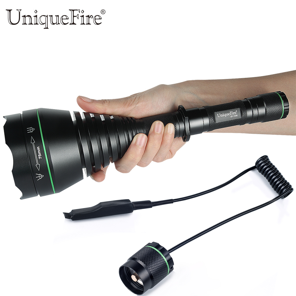 UniqueFire Powerful IR Hunting Flashlight UF-1508 T75 850nm Led Zoomable Lens Tactical Flashlight Lamp with a Rat Tail Switch uniquefire uf flashlight 1508 50 ir 850nm zoomable 3 modes night vision tactical torch rat tail waterproof ip65 aluminum alloy