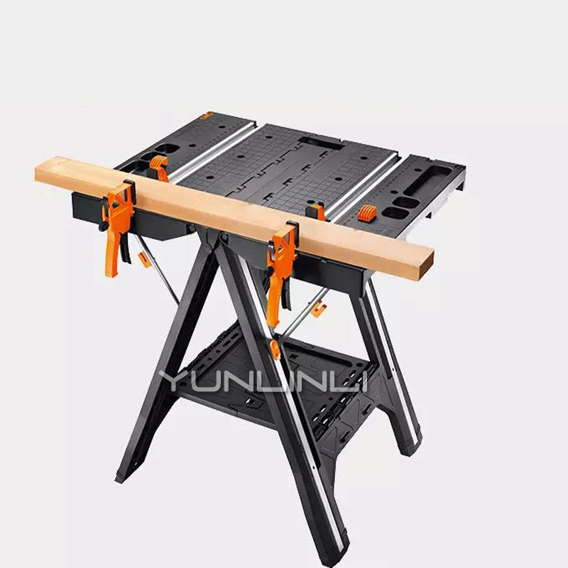 Folding Woodworking Saw Table & Sawhorse Portable & Multi function Working Table With Quick Clamps And Holding Pegs WX051 Hand Tool Sets     - title=