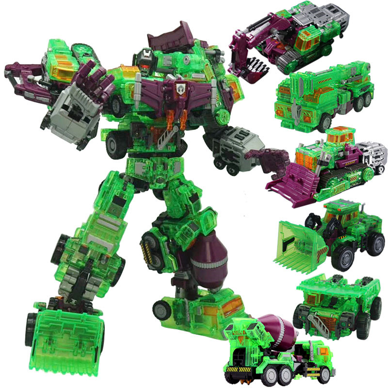 6 IN 1 NBK Oversize Devastator TF Transparent GT Transformation Engineering Action Figure Robot Cars Excavator