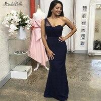Modabelle темно синий голубое платье для подружки невесты Vestido Largo Dama De Honor одно плечо Свадебная вечеринка платье свадебное платье