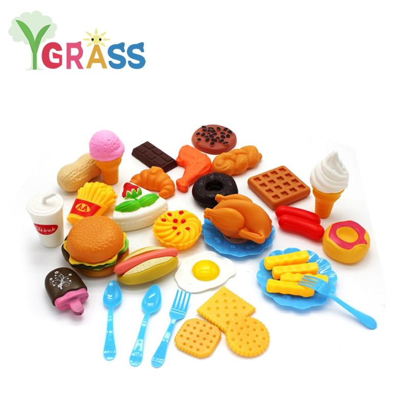 Kids Kitchen Toys Plastic Fruit Ice Cream Toy Hamburger Girls Pretend Play Fake Miniature Food Toys Set Baby Children Cooking