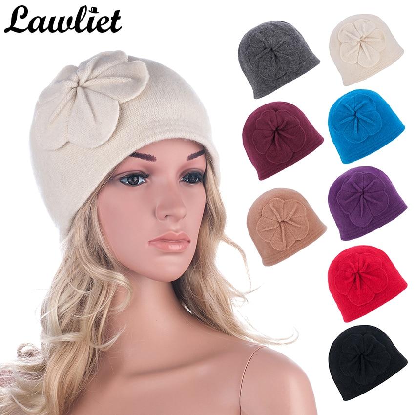 Vintage Style Winter Women Beanies Hat With Flower Design Wool Bucket Hats Wholesale Warm Hats for Women Winter Cap A289 sweet vintage style purple winter cape for women mandarin collar wool cape