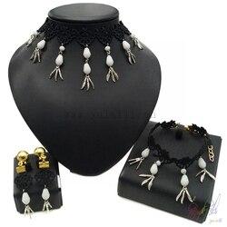 18 karatowego złota kolor zestawy biżuterii czarny kostium sznurowany zestaw biżuterii moda miedzi zestawy biżuterii