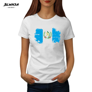 BLWHSA New Summer Casual Guatemala National Flag Printed T Shirt for Female O Neck White Color Women Short Sleeve T-shirts(China)