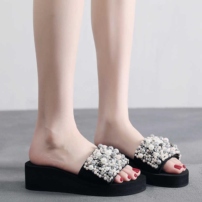 SHUJIN inciler slaytlar kadın sandalet topuk terlik Torridity sandalet ayakkabı el yapımı bohemya kristali kadeh kadın açık ayakkabı terlik