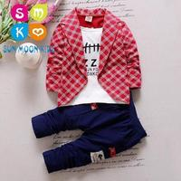 1 2 3 4 Year Baby Boys Spring Autumn Casual Clothing Sets Kids Clothes Formal Coat + Pants 2PCS Suit Gentleman Set