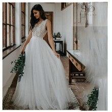 2019 Lace Wedding Dress Boho A Line V Neck Bride Gowns Elegant Train White Puff Tulle Custom Made