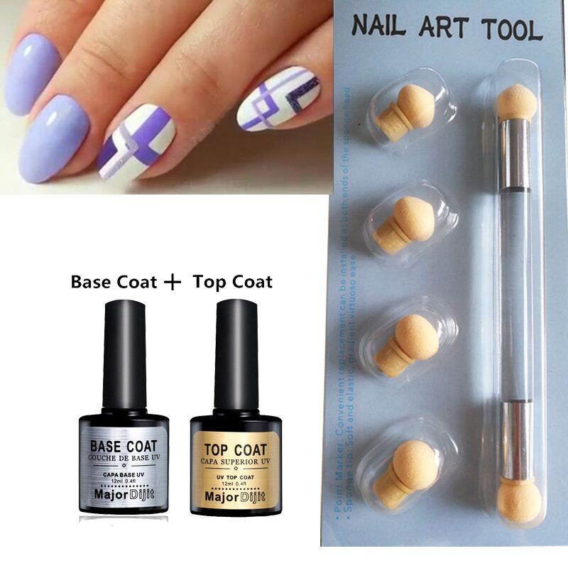 Aeropuffing Nail Art Kit Sponging Tool Gel Polishes Set