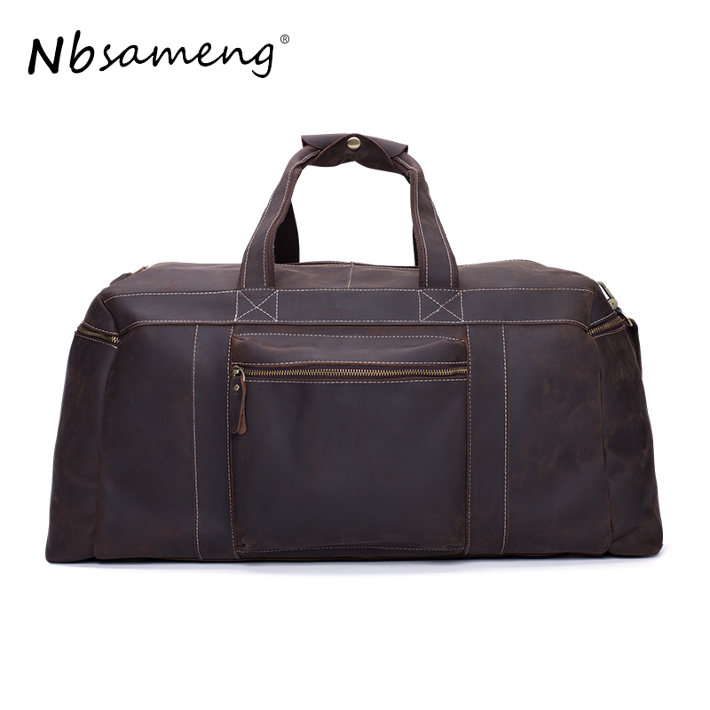NBSAMENG 2017  Duffel Male Bag Genuine Leather Business Men's Travel Bag  Large Capacity Designer Handbag