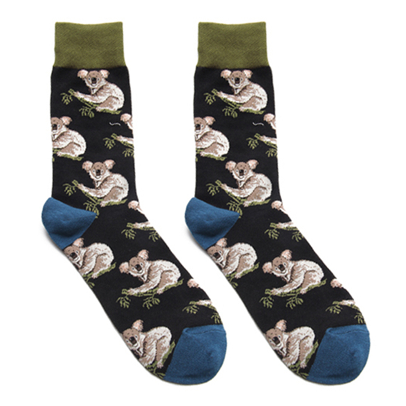 Adult Size Mid Calf Crew Socks Koala Bears Eat Eucalyptus Leaves Colo Colah Koolah Kaola Karbor Boorabee Australia Sleepy Animal