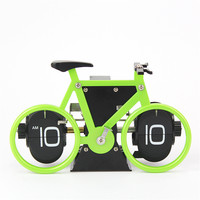 New Creative Bicycle Desk Clock Page Turning Table Clock Table Accessories for Office Bedroom Home Decor Free Shipping
