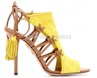 Women name brand yellow&tan leather ankle tie sandals hollow out lace up summer sandal boots tan shoelace decorated sandals