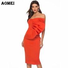 AOMEI Women Tube Dress Bodycon Evening Off Shoulder Party Ruffles Sexy  Dinner 4ed25cb20d95