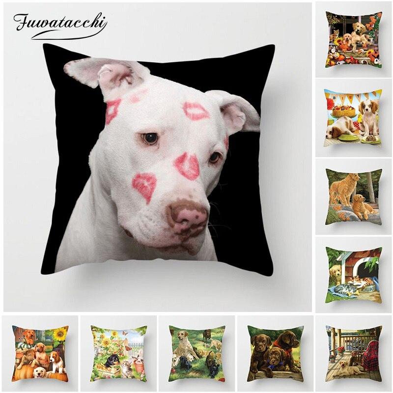 Fuwatacchi Cães Bonitos Capas de Almofada Cão Casal Travesseiro Capas para Sofá Home Decor Engraçado Flores Manor Praça Fronhas de Pelúcia