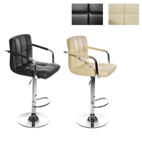 Swivel Bar Stool Modern Plaid Chrome Arm Bar Chair Gas Lift Adjustable Height HOT SALE