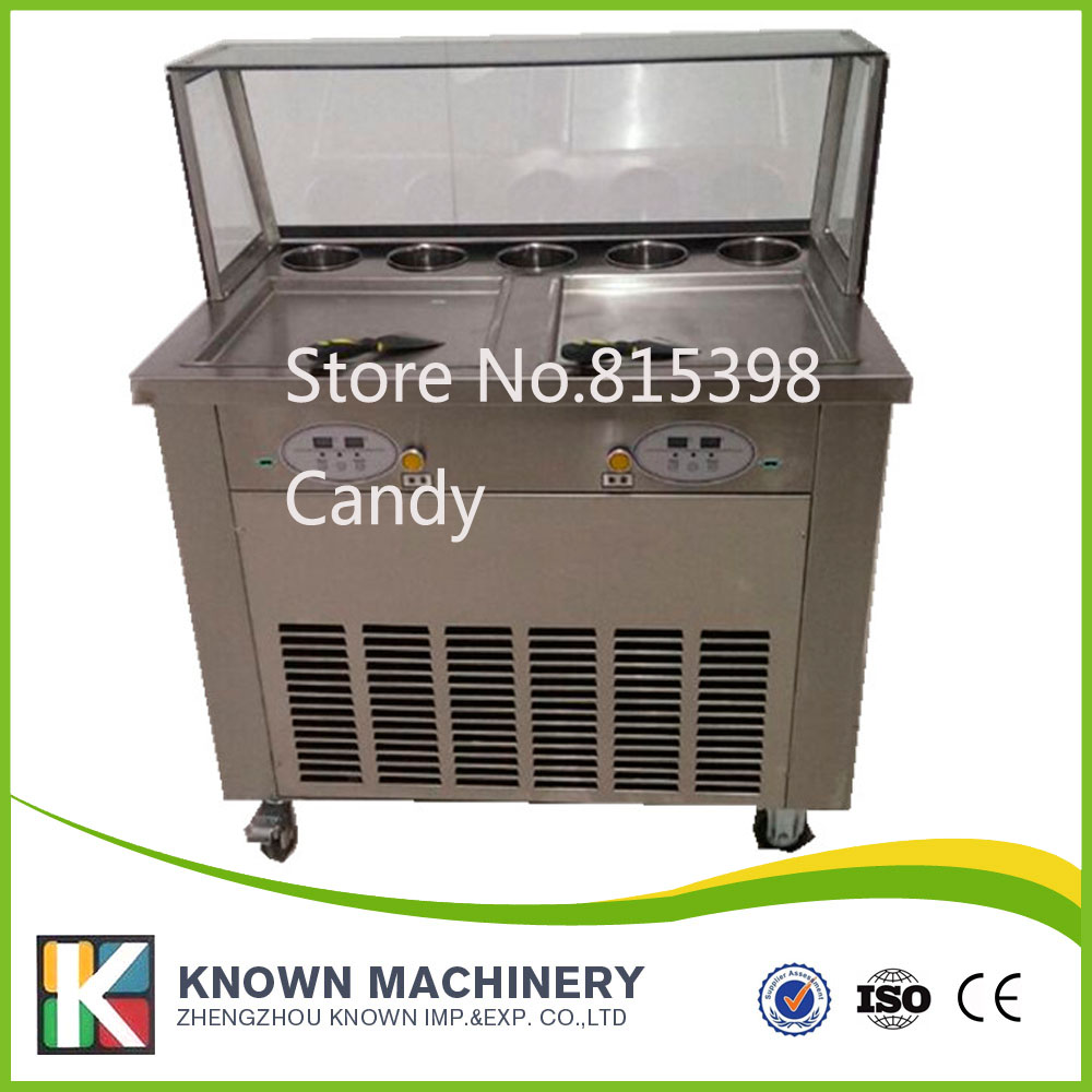 free shipping by sea double pan fried ice cream machine with 5 topping holders fry ice cream machine for sale  family car with a refrigerator for ice creams bottle drinks free shipping by sea