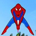 Envío de la alta calidad del hombre araña juguetes que vuelan cometas cometa con la línea de mango al aire libre para la venta nylon fuente kite flying dragon