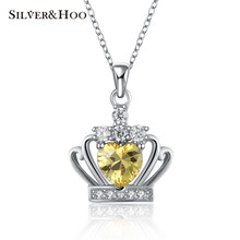 SILVERHOO 925 Sterling Silver Pendant Necklaces 2 colors High Quality Yellow Crystal Crown Necklace Fine Jewelry for Women