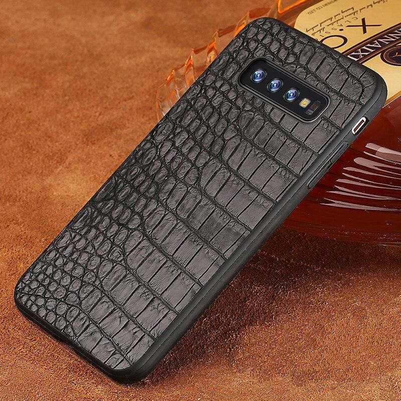 De luxe En Cuir de Crocodile Véritable étui pour Samsung Galaxy s10 9 8 7 6 plus Antichoc funda couverture arrière Pour Samsung Note 8 9 a50