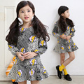 2016 NEW Kids Girls Dress cute Long sleeve princess dress Fashion floral print children's clothing