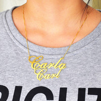 2 8 Gold Double Nameplate Necklace Big Statement Pendent Custom Name Necklace Personalized BFF Pendent Hip