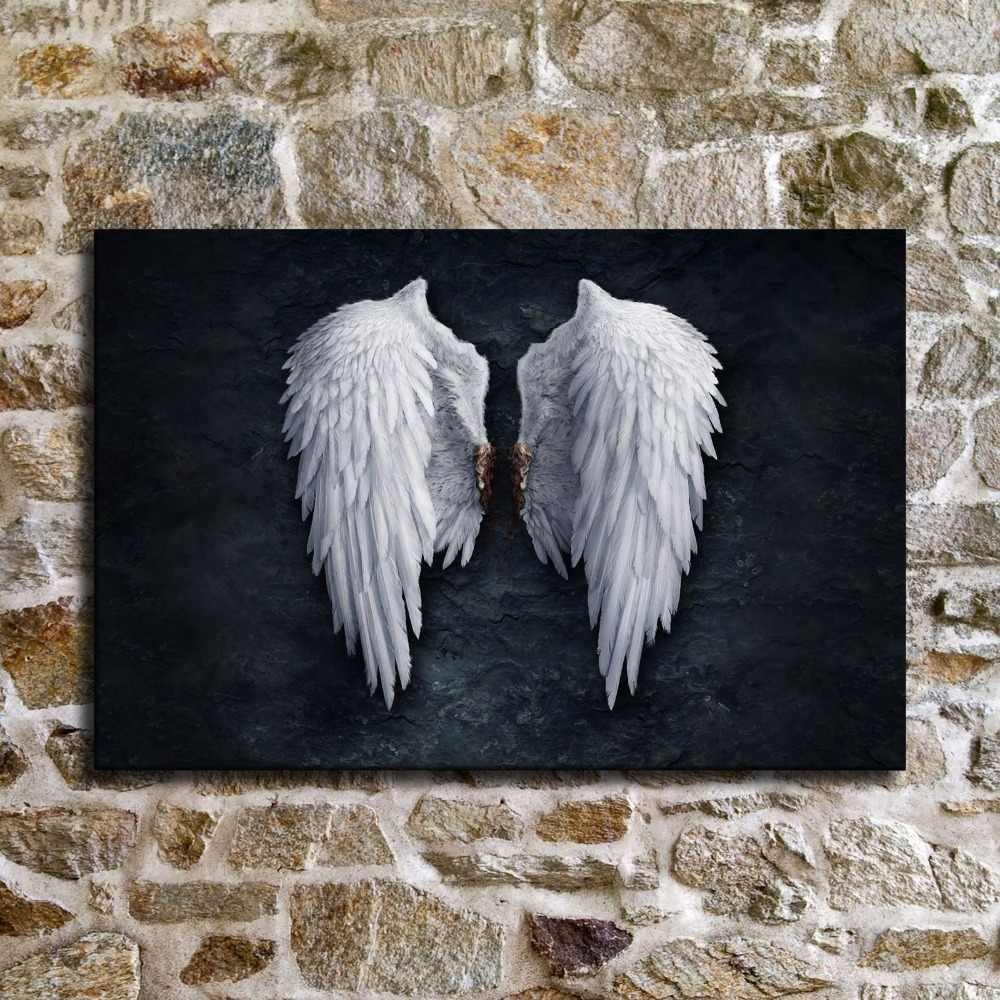 Moderne Engelsfl/ügel Feder Wandkunst Leinwand druckt Gem/älde auf der Wand Bild f/ür Wohnzimmer Poster und Drucke 50x75cm