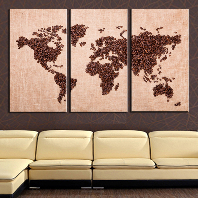 Frameless modern world map canvas oil painting on canvas 3 pc wall frameless modern world map canvas oil painting on canvas 3 pc wall art hd world map gumiabroncs Images
