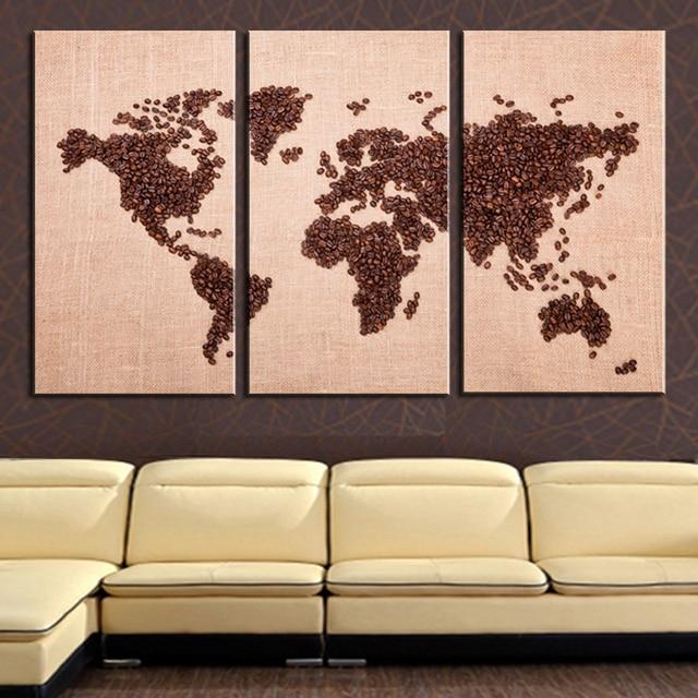 Modern World Map Canvas. Frameless Modern World Map Canvas Oil Painting On 3 PC Wall Art HD