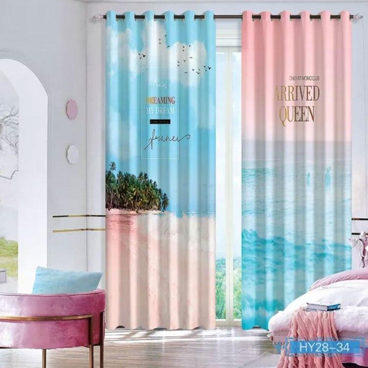 Paysage fenêtre 3D rideau salon moderne maison produits fenêtre traitements Polyester imprimé 3d rideaux pour chambre
