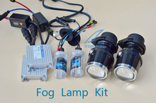 HID Xenon Fog Lamp Retrofit Projector Lens with COB angel eyes and Xenon H3 35w ballast hid KIT Universal for all cars