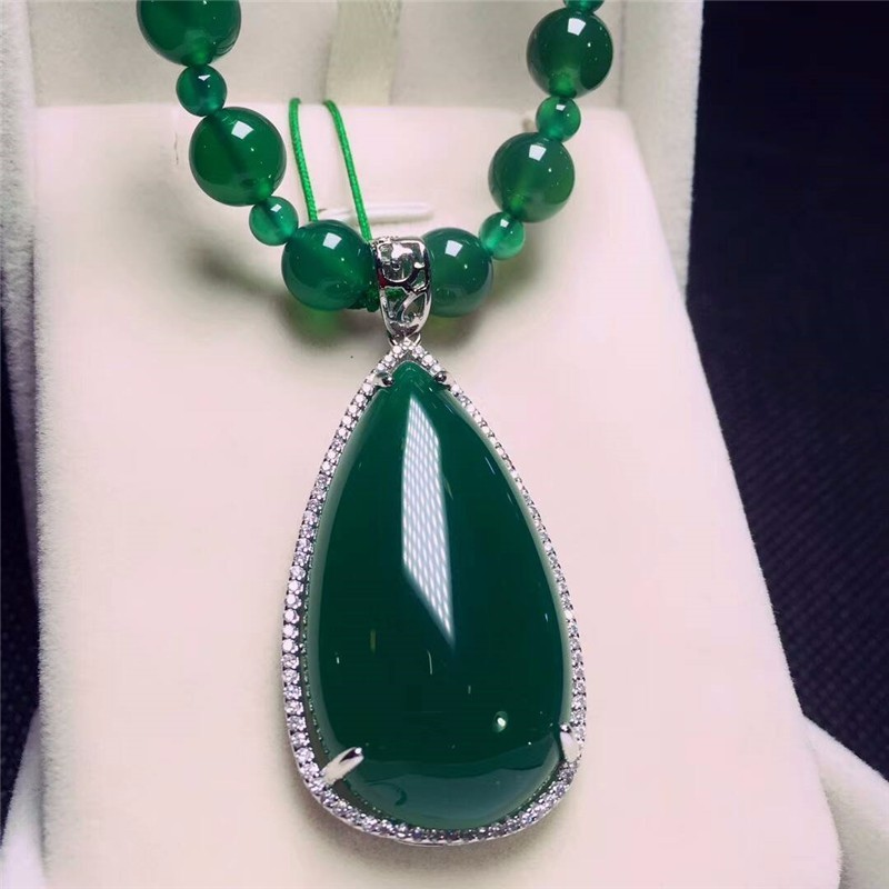 Koraba Fine Jewelry 925 Silver Inlaid Natural Green Chalcedony Water Drops Pendant Necklace Sweater Chain Gifts Free Shipping 925 silver green yellow chalcedony agate pendant buckle female sweater chain large round jade pendant