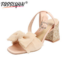 TASSLYNN 2019 Women Sandals Sweet Silk+sheep Leather Bling Square High Heels Shoes Butterfly-knot Buckle Strap Size 34-40