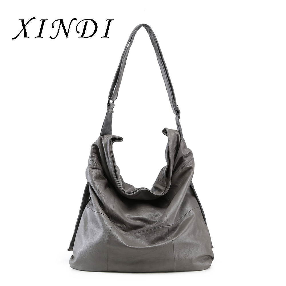 XINDI Casual Women Bag Soft Genuine Cow Leather Fashion Shoulder Bags Female Large Tote Bucket Shopping Handbag&Liner Bag hahmes 100% genuine leather women bag women fashion design handbag female casual tote real cow leather shoulder bag 35cm 10541