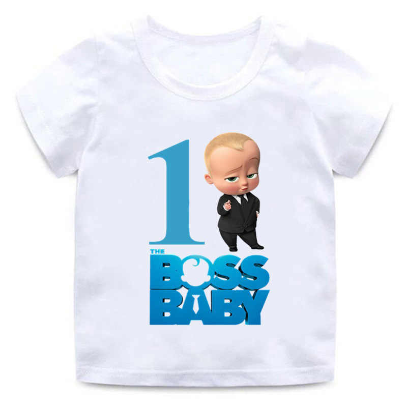 Boys Girls Happy Birthday Tshirt Kids Cotton First Birthday T-shirt Boss Baby Printed Short Sleeve Tee Tops For Child Clothes