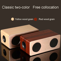 HIFI Double horn Wooden Bluetooth wireless speaker portable Subwoofer Wireless receiver Support TF super bass bluetooth speakers