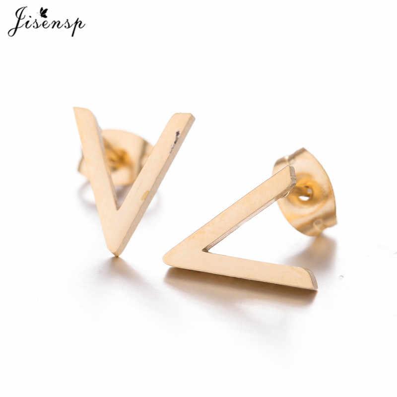 Jisensp mujer Simple pendientes con pasador en forma de letra Retro geométrico pendientes de cheurón para las niñas de acero inoxidable en forma de V pendientes orecchini
