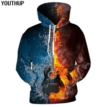YOUTHUP 2018 New Plus Size 3d Hoodies For Men/Women Guitar 3D Print Rock Band Hooded Sweatshirts Men Hip Hop Pullover