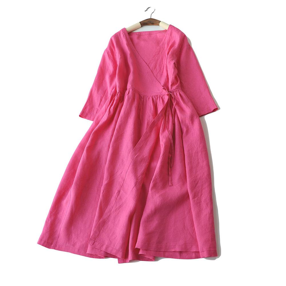 봄 여름 여성 느슨한 간략한 일본식 편안한 물 씻어 린넨 v 목 카디건 드레스-에서드레스부터 여성 의류 의  그룹 3