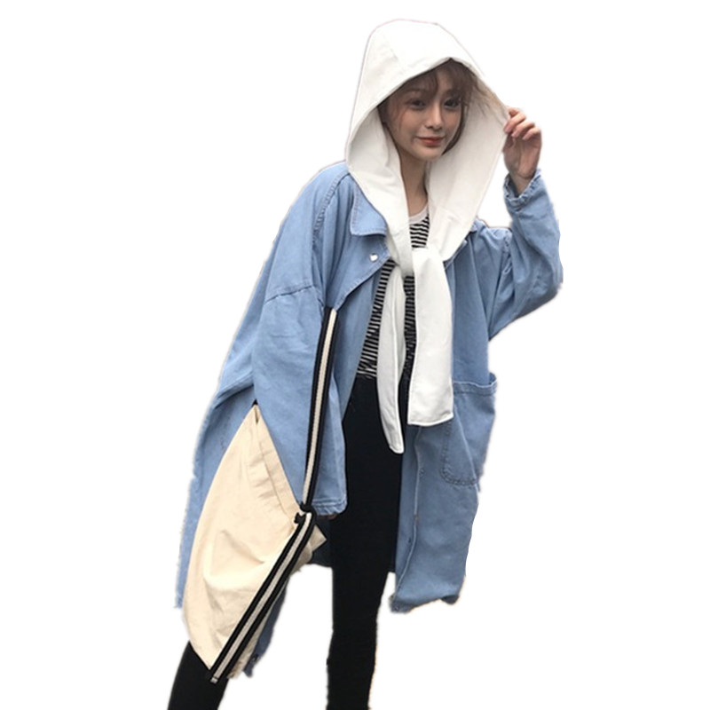 Maternity Show thin coat Long Loose Hooded Fashion trench coat for Pregnant Women Pregnancy Coats Large size ladies Outerwear denim self tie waist long sleeves hooded trench coat