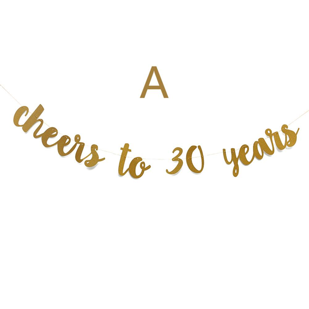 Image 3 - Golden Glitter Cheers To 30 40 50 60 70 Years English Letter String Flag Birthday Party Banner Wedding Party Supplies Ornament-in Banners, Streamers & Confetti from Home & Garden