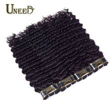 Uneed Malaysian Deep Wave Curly Hair Weave Bundles 100% Human Hair Weaving Natural Color Remy Human Hair Extensions 10-28inch